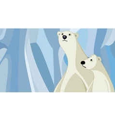 cartoon polar bear mother with her baby vector image