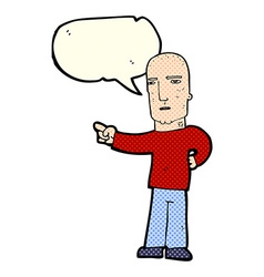 Cartoon tough guy pointing with speech bubble vector