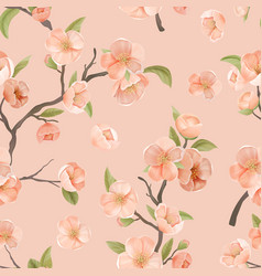 cherry flower seamless pattern with blossoms and vector image