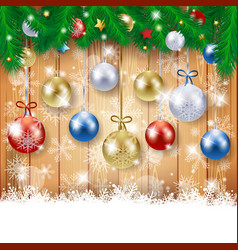 christmas background with fir and christmas balls vector image