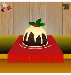 Christmas pudding on the table vector