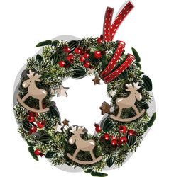 christmas wreath beautiful evergreen wreath of vector image