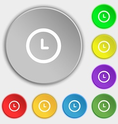 clock icon sign Symbol on eight flat buttons vector image