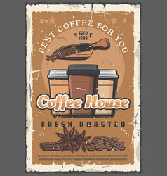 coffee house retro poster takeaway paper cups vector image