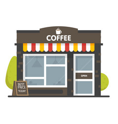 coffee shop building facade signboard with big vector image