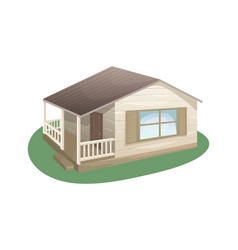 Cozy country house made wood with a veranda vector