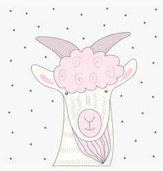cute goat print vector image