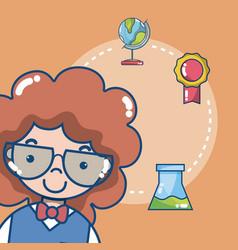 Cute school student girl vector