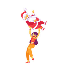 cute woman holding santa claus above head vector image
