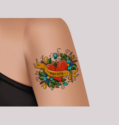 decorative tattoo on female armheart word mother vector image