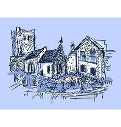 digital sketch drawing of rural landscape vector image