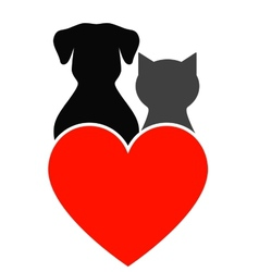Dog cat and heart vector