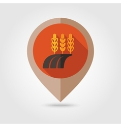 Ears Wheat Barley Rye on Field flat pin map icon vector image