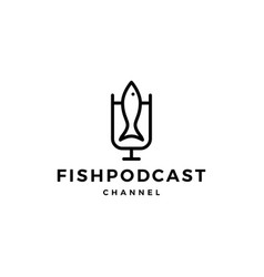 fish podcast logo icon for fishing blog video vector image