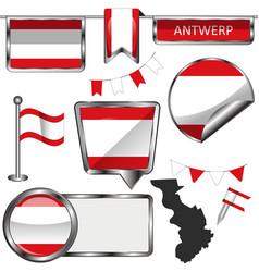 Flag antwerp belgium vector