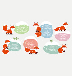fox set winter stickers vector image