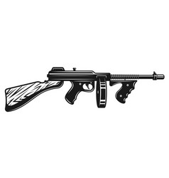 Gangster submachine gun monochrome vector