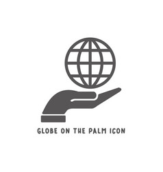 globe on palm hand icon simple flat style vector image