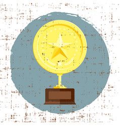 Golden star achievement award with grunge texture vector