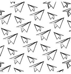 Grunge paper plane origami design background vector