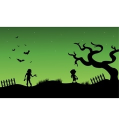 Halloween zombie and childs silhouette vector