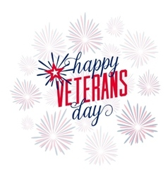 Happy Veterans Day with firework vector image