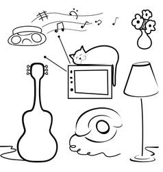 Interior objects vector image