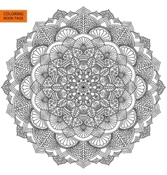 Intricate black mandala for coloring book vector