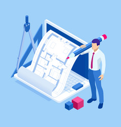 Isometric architect drawing on architectural vector