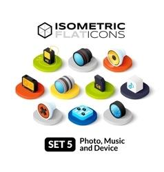 Isometric flat icons set 5 vector