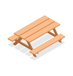 isometric wooden table with benches vector image
