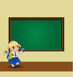 kawaii schoolgirl with braids standing near vector image