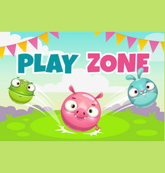 Kids zone banner concept play zone vector