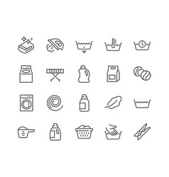 line laundry icons vector image