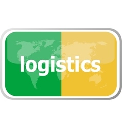 logistics Flat web button icon World map earth vector image