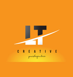 Lt l t letter modern logo design with yellow vector