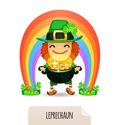 Lucky leprechaun with coins in front of a rainbow vector