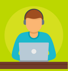 Man at laptop icon flat style vector