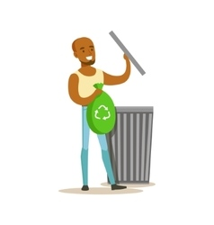 Man Throwing Waste In Recycling Bag Contributing vector image