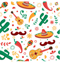 mexican party icon seamless pattern background vector image
