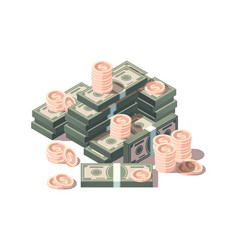 money hills dollars and coins finances isometric vector image