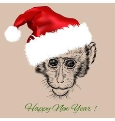 monkey portrait in red Santa Claus hat vector image