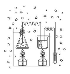 Monochrome silhouette scene of chemical laboratory vector