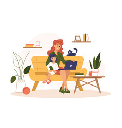 mother work home at laptop freelance remote office vector image