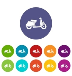 Motorbike set icons vector image