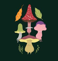 Mushrooms charscters set vector