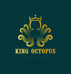 octopus wear a crown on dark blue background vector image