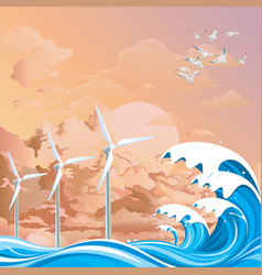 Offshore wind turbines at dawn vector