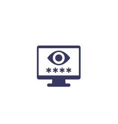 Parental control icon with eye and password vector