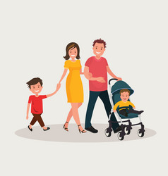 parents with baby mom and dad walk with his vector image